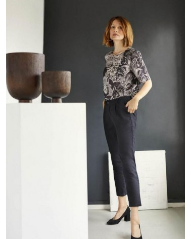 Pantalone donna nero in cotone bio, Thought.