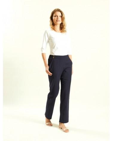 Pantalone in cotone biologico blu navy. Commercio equo