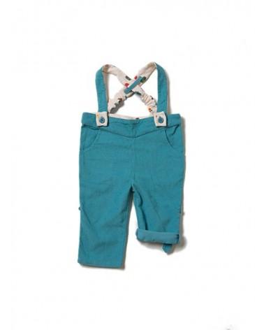 Salopette pantaloni in cotone biologico equosolidale. Turchese