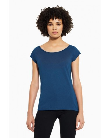 T-shirt donna in bambù e cotone biologico, Blu.