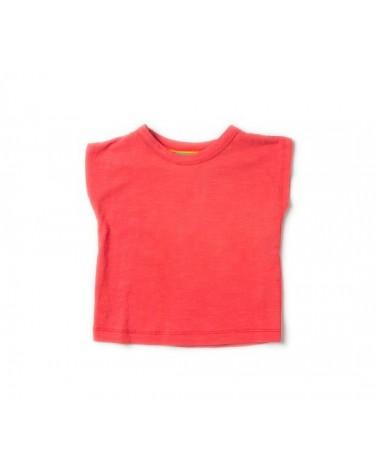T-shirt rossa per bambini in cotone bio.