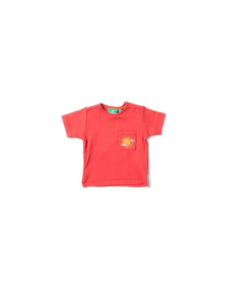 T-shirt rossa ricamo per bambini in cotone bio.