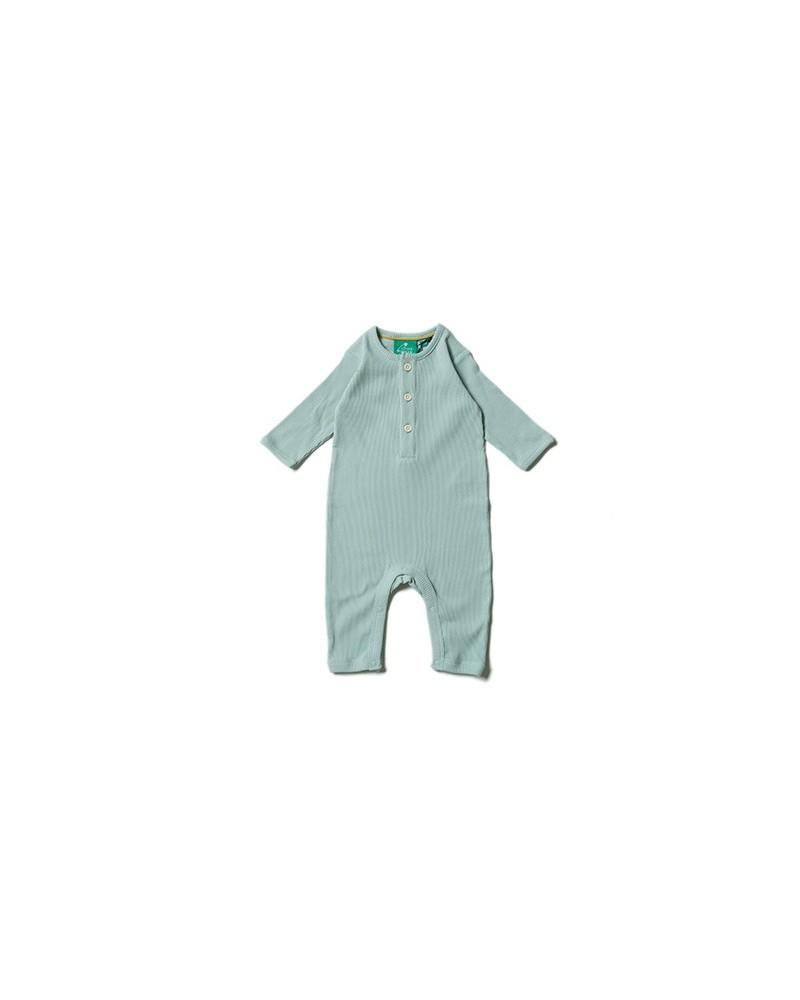 Tutina neonato unisex in cotone biologico equosolidale. Verde alpino