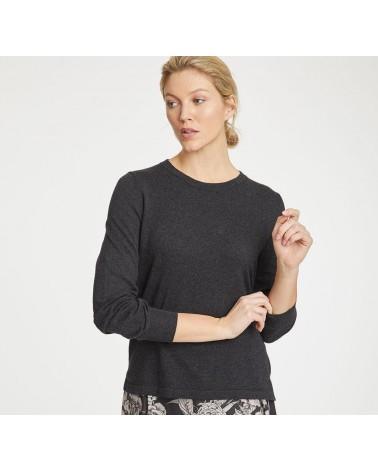 Maglione donna antracite manica lunga in cotone bio e lana.