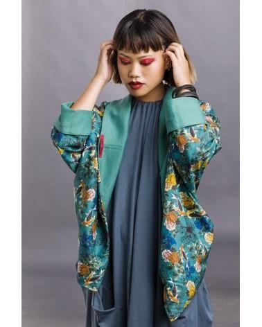 Giacca kimono sartoriale doubleface. Tulipani