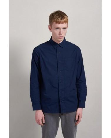 Camicia uomo blu con colletto, cotone biologico. Komodo
