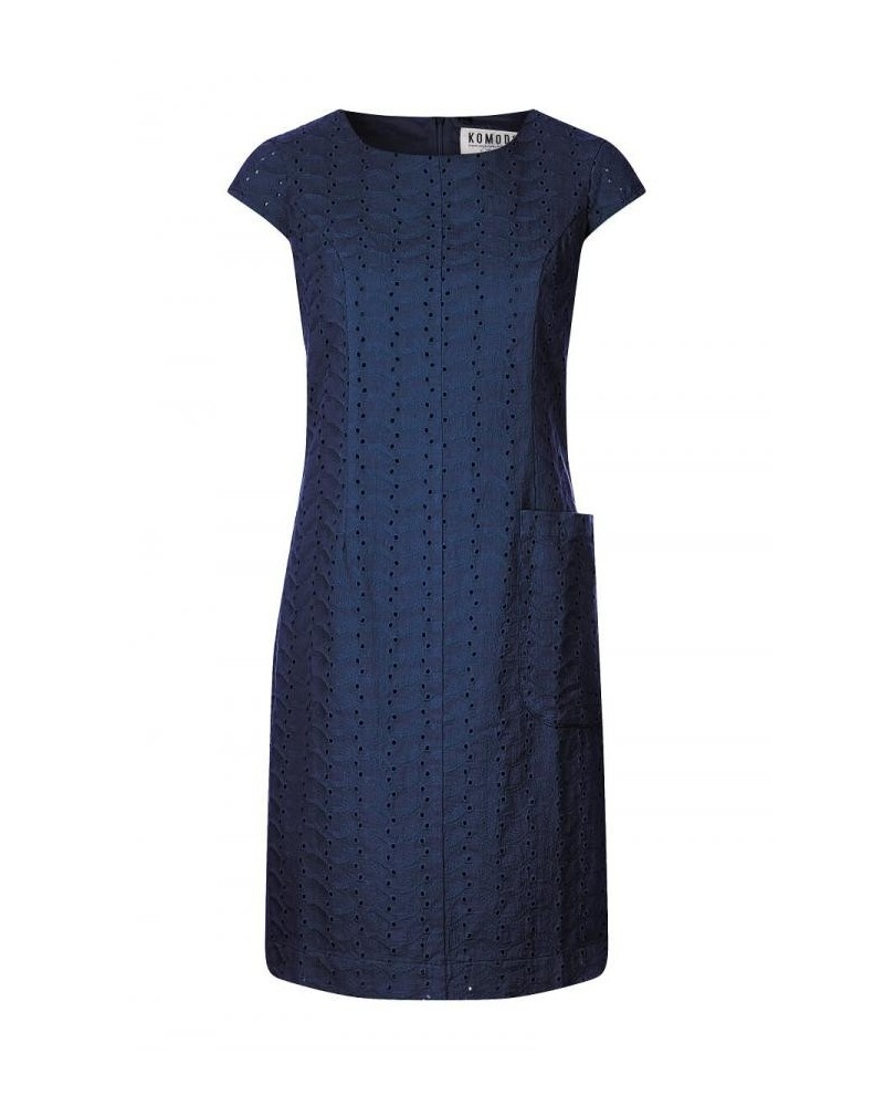 Vestito blu manica corta in cotone biologico. Komodo