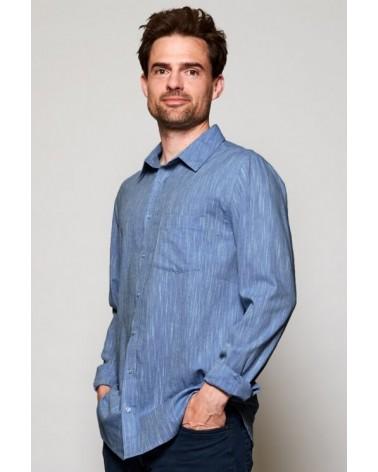 Camicia uomo in cotone blu denim chiaro, Nomads.