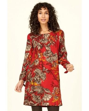 Vestito rosso in fantasia floreale, Nomads.