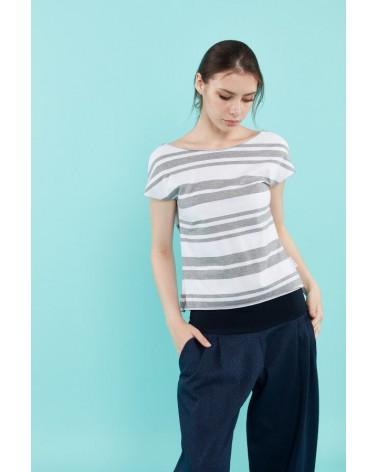 Pantaloni blu sartoria creativa con fascia elastica, made in Italy.