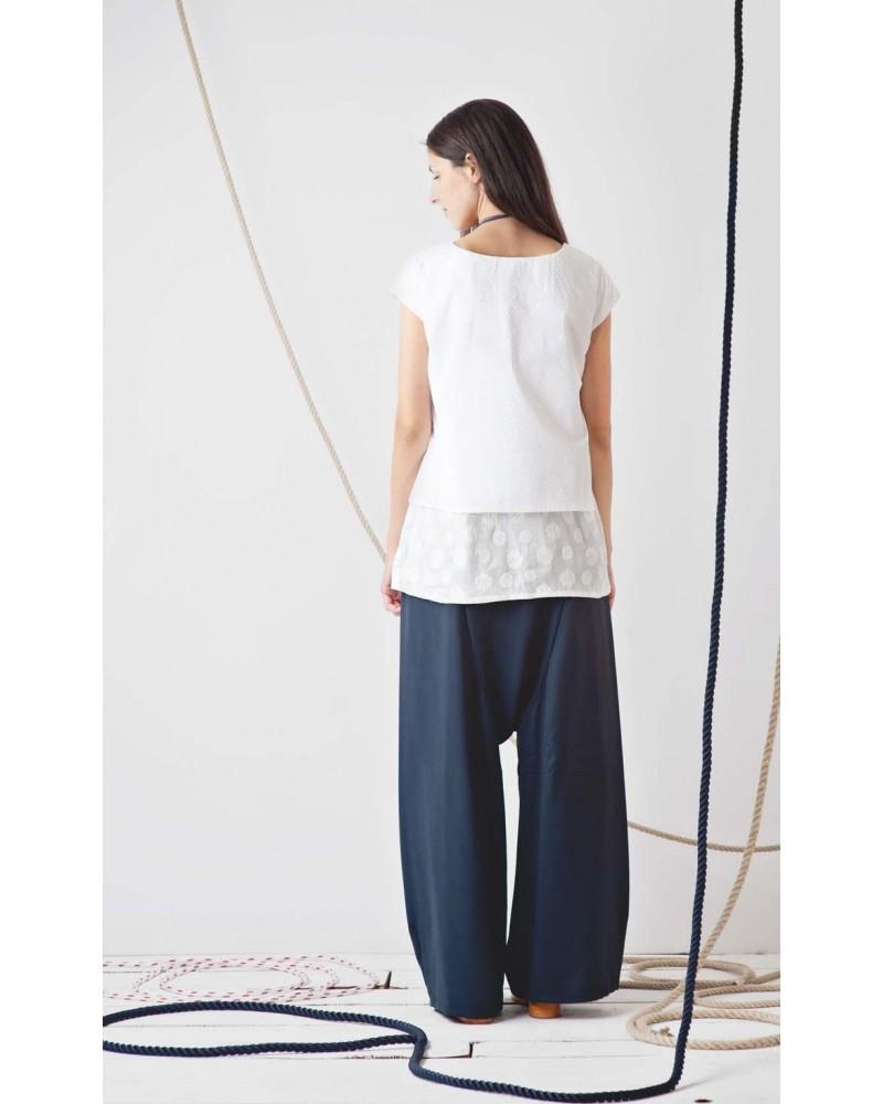 Camicia doppio tessuto fiori e pois TG S. Articolo di sartoria