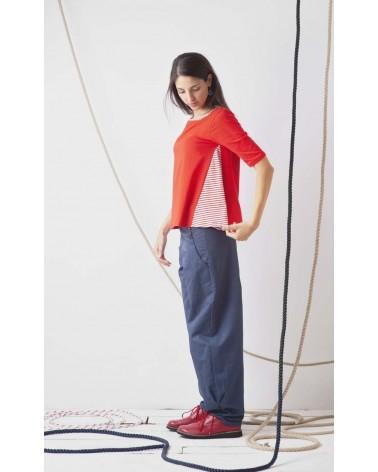 Maglia rossa in cotone con bordino in contrasto TG XS. Articolo di sartoria