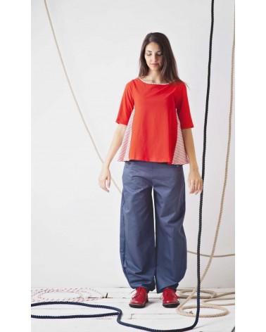 Pantalone blu ampio con bottoni e orlo con pieghe TG L. Articolo di sartoria