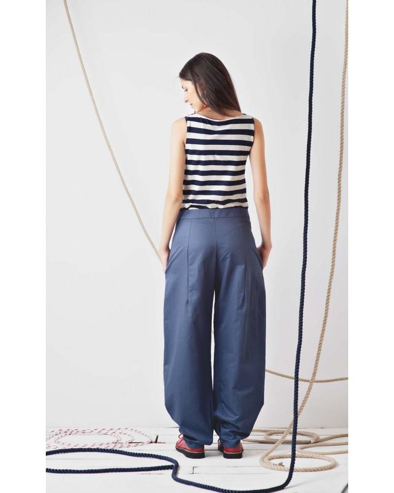 Pantalone blu ampio con bottoni e orlo con pieghe TG M. Articolo di sartoria