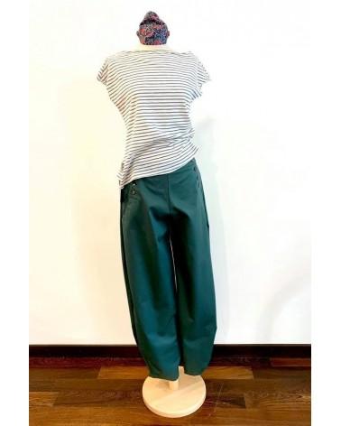 Pantalone verde ampio con bottoni e orlo con pieghe TG M. Articolo di sartoria