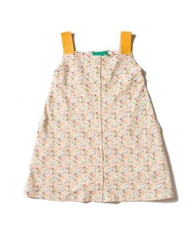 Vestito bambina con brettelle ocra in cotone biologico. Equosolidale