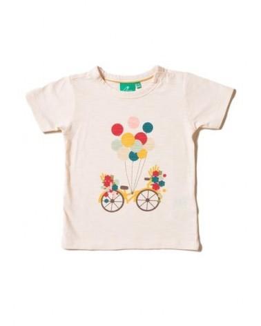 T-shirt avorio bambina in cotone biologico, bici e palloncini.