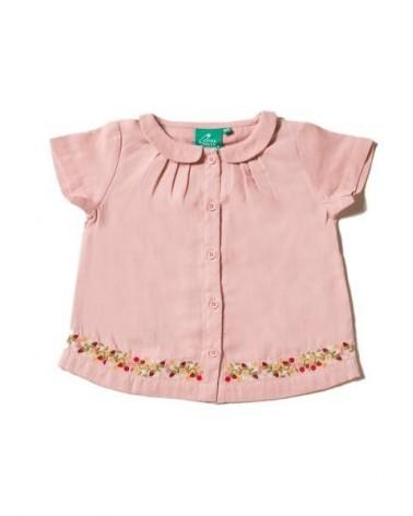 Camicia bambina rosa antica in cotone biologico con ricamo.