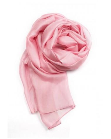 Sciarpa rosa elegante in seta tinta con colori ecologici.