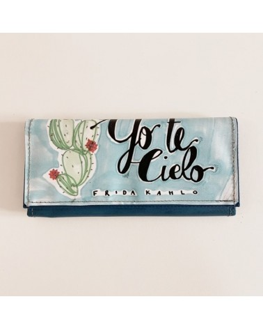 Portafogli donna grande riciclato Frida Yo te cielo.