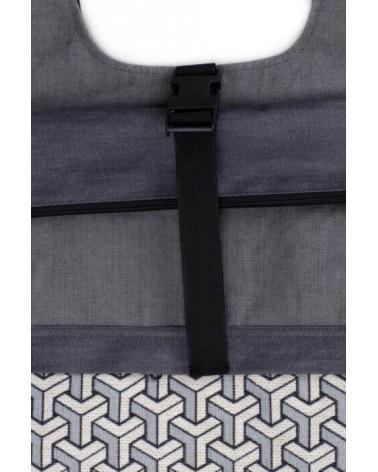 Zaino artigianale in cotone tre tasche con fibbia, tetris.