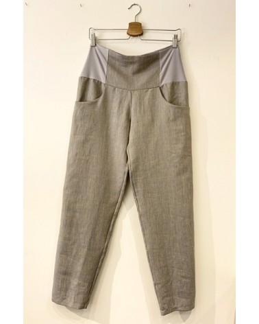 Pantaloni sartoriali donna misto lino, made in Italy.