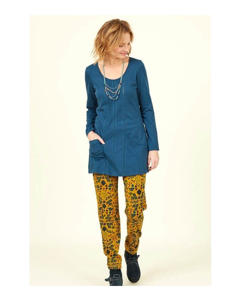 Tunica blu royal in cotone bio manica lunga. Nomads