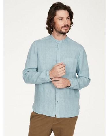 Camicia alla coreana in canapa, blu cielo.