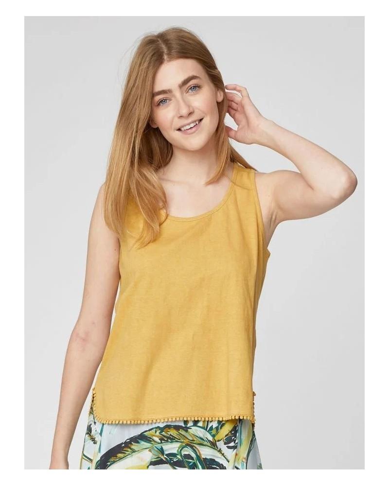 Canotta gialla in canapa e cotone, Thought.