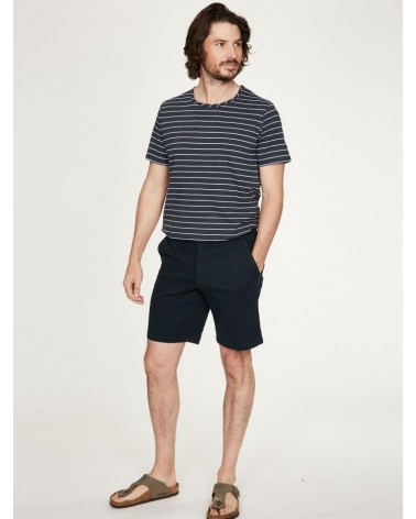 T-shirt uomo a righe in canapa e cotone bio, blu scuro.