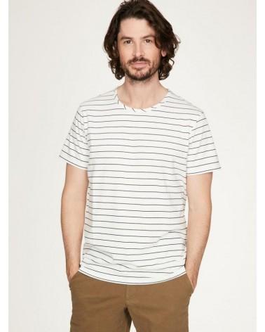 T-shirt uomo a righe in canapa e cotone bio, avorio.
