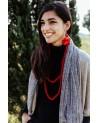 Collana lunga mattone in seta e legno, tinture ecologiche.
