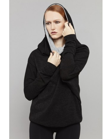 Vestito trasformabile in lana maniche lunghe, blu scuro. Taglia SM
