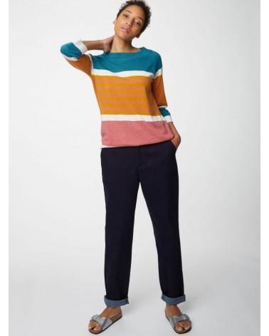 Maglione a righe manica lunga in cotone bio e lana.