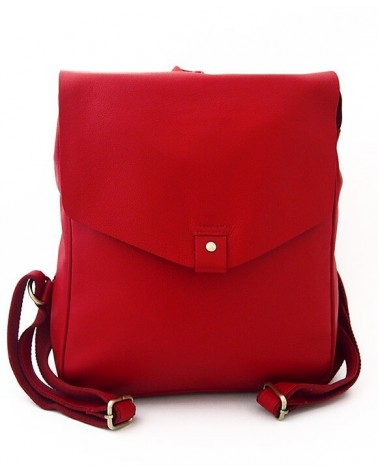 Zaino artigianale in pelle rosso. Progetto equosolidale.