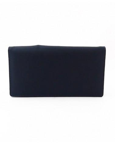 Portafogli donna artigianale in pelle blu. Progetto equosolidale