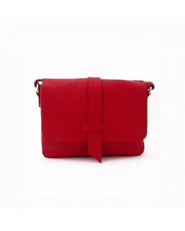 Borsa rosso artigianale in pelle. Progetto equosolidale.