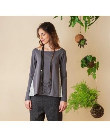 Maglia grigia in jersey di cotone con fianchi e bordino a contrasto, TG L. Articolo di sartoria