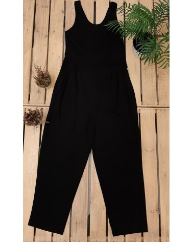 Salopette nera in jersey di cotone, TG S. Articolo di sartoria