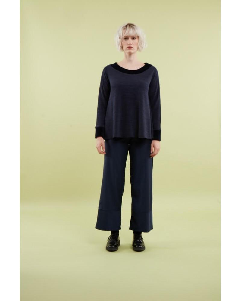 Maglia sartoriale donna in lana e velluto, blu scuro. Taglia ML