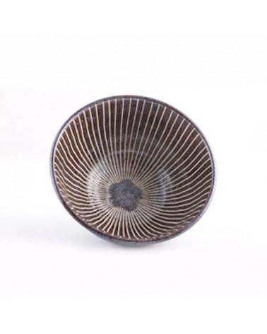 Ciotola brunita in porcellana giapponese, linee verticali.