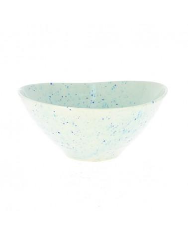 Insalatiera grande bianca e blu in ceramica giapponese.