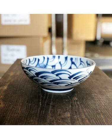 Ciotola grande insalatiera onde in ceramica giapponese.