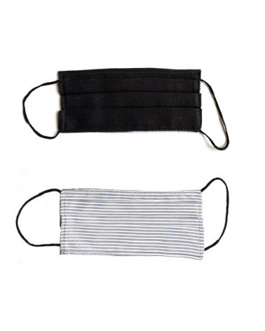 Mascherina covid19 doppio strato con tasca per filtro. Articolo di sartoria. Nera e righe