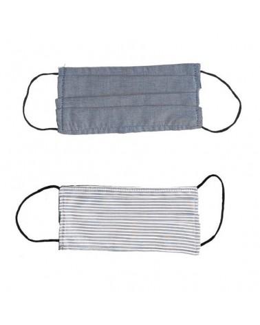 Mascherina covid19 doppio strato con tasca per filtro. Articolo di sartoria. Denim e righe