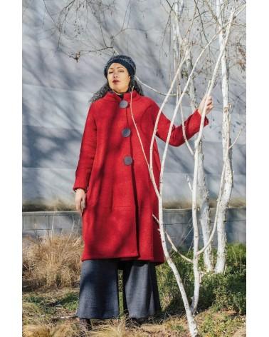 Cappotto nero lungo in lana, articolo di sartoria. Taglia L