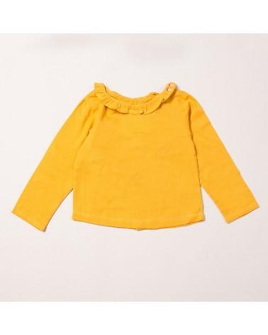 Maglia senape con colletto per bambina di cotone biologico equosolidale. 9-12 mesi