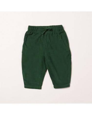 Pantalone bambini verde in velluto. Cotone bio equosolidale, 9-12 mesi.
