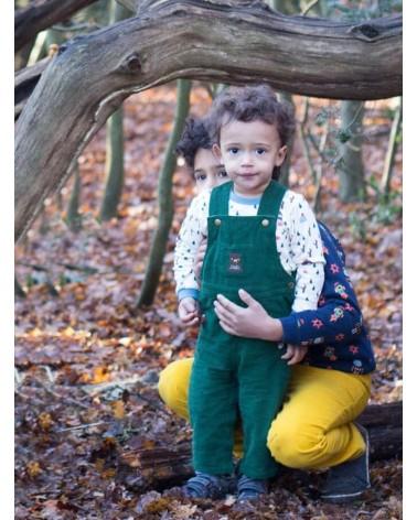 Salopette per bambini in velluto verde di cotone biologico equosolidale.  18-24 mesi