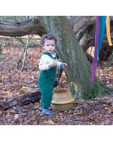 Salopette per bambini in velluto verde di cotone biologico equosolidale. 2-3 anni